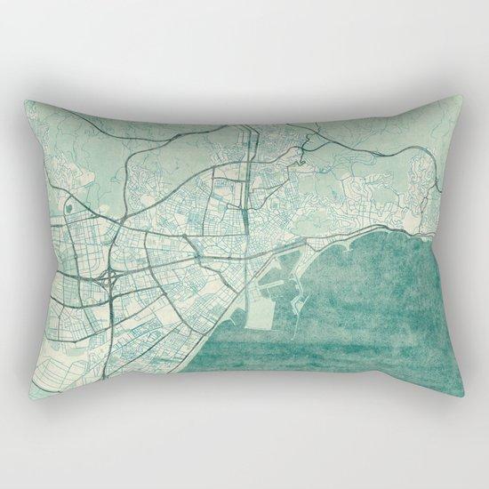Malaga Map Blue Vintage Rectangular Pillow