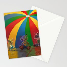 Best Day of Gym Class - Rainbow Parachute animals, mouse, tiger, raccoon Stationery Cards