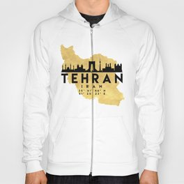 TEHRAN IRAN SILHOUETTE SKYLINE MAP ART Hoody
