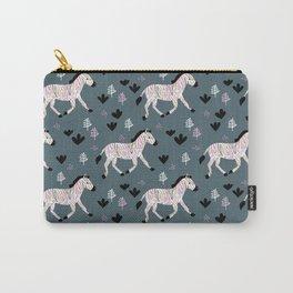 Sweet Zebra night garden winter blue pink kids Carry-All Pouch