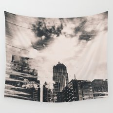 City Architecture Seattle Pike Place Market Black and White Water Clouds Reflection Wall Tapestry