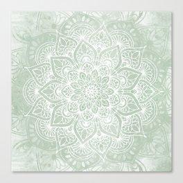 Mandala, Yoga Love, Sage Green, Boho Print Canvas Print