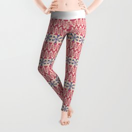 Vintage red blue ivory abstract Christmas pattern Leggings