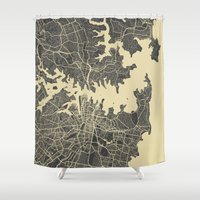 sydney Shower Curtains featuring Sydney map by Map Map Maps