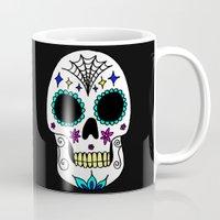 sugar skull Mugs featuring Sugar Skull by Julie Erin Designs
