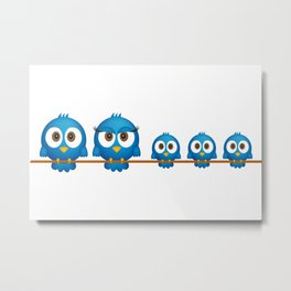 Cute twitter bird family cartoon Metal Print