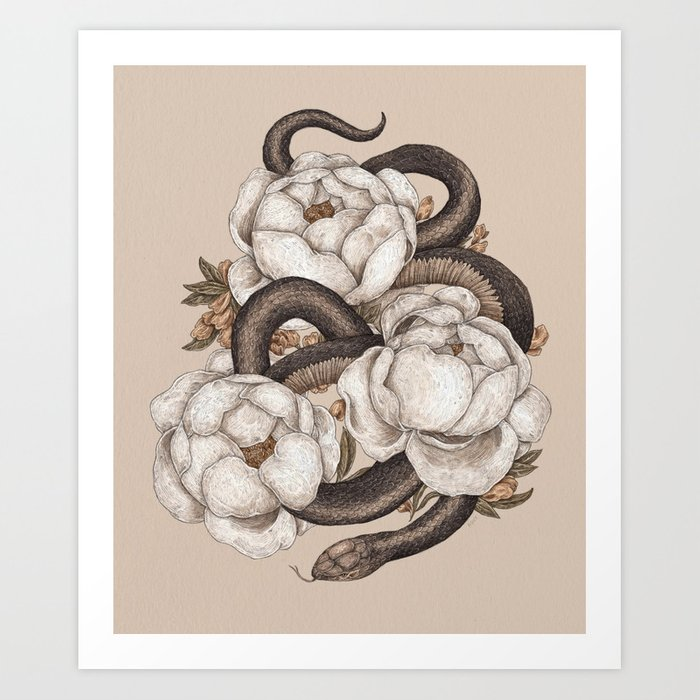 Snake and Peonies Kunstdrucke