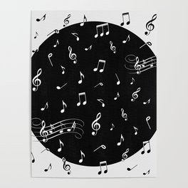 Music White and Black Poster