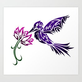 Hummingbird W/ Flower Art Print