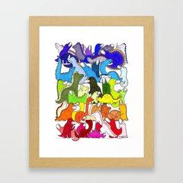 Rainbow Dinosaur Gradient Framed Art Print