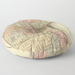 Vintage Map Of Chicago Floor Pillow