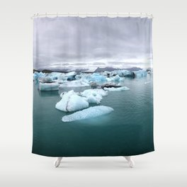 Colorful Glacier Lagoon in Iceland Shower Curtain