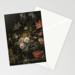 Abraham Mignon - The overthrown bouquet - 1660-1679 Stationery Cards