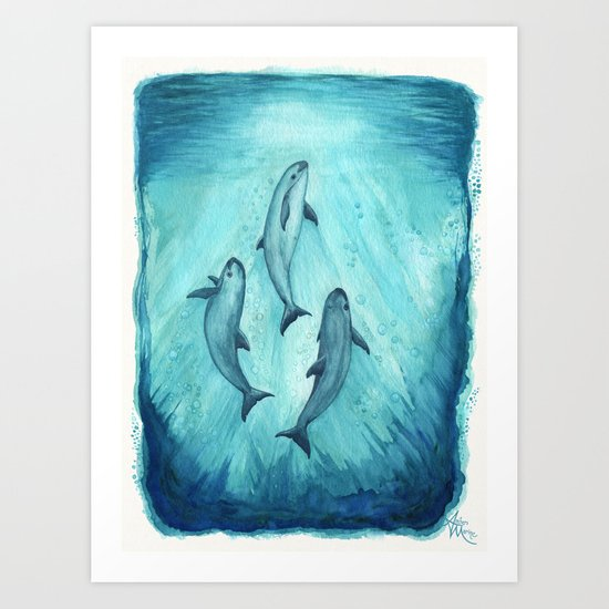 """""""Song of the Vaquita"""" by Amber Marine ~ Watercolor Painting, (c) 2015 Art Print"""