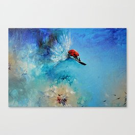 Flirt - Ladybug On DandelionFlirt - DETAIL Canvas Print