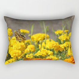 Lovely butterfly on yellow flower, with field of carnations on background Rectangular Pillow