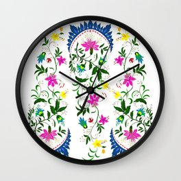 spring ornaments flowers Wall Clock
