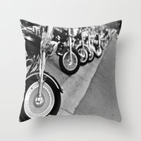 bikes Throw Pillows featuring Bikes by M. Gold Photography