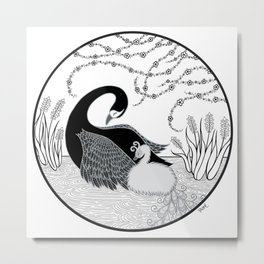 Black Swan and Moonlark Metal Print
