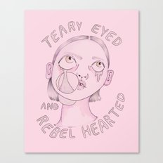 Teary eyed and rebel hearted Canvas Print