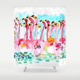Welcome to Miami - Flamingos Illustration Shower Curtain