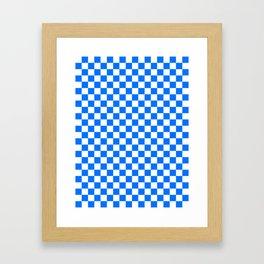 White and Brandeis Blue Checkerboard Framed Art Print