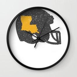 State Shape of Louisiana on Vintage Football Helmet Wall Clock