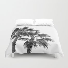 B&W Palm Tree Print | Black and White Summer Sky Beach Surfing Photography Art Duvet Cover