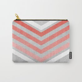 Coral Gradient Chevron on Silver Grey Wood Carry-All Pouch