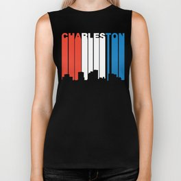 Red White And Blue Charleston West Virginia Skyline Biker Tank