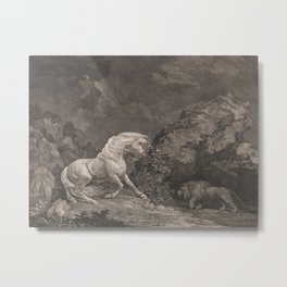 George Stubbs A Horse Affrighted by a Lion Black and White Vintage Ink Illustaration Fantasy Art Metal Print