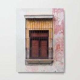 Red Window in Antigua Guatemala Metal Print