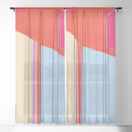 Construct in Orange, Cream and Blue Sheer Curtain