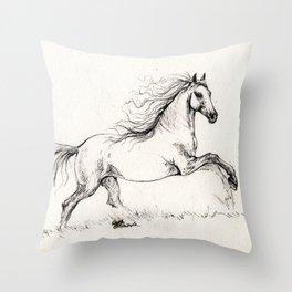 Running andalusian horse Throw Pillow