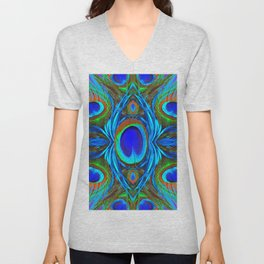 BLUE  PEACOCK EYE FEATHER ABSTRACT Unisex V-Neck
