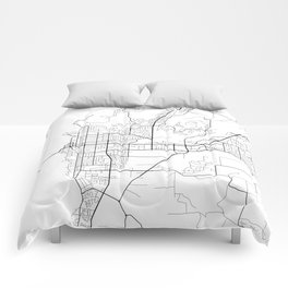 Kelowna Map, Canada - Black and White  Comforters