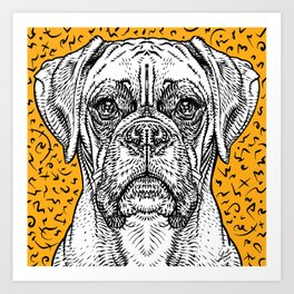 BOXER ink portrait Art Print