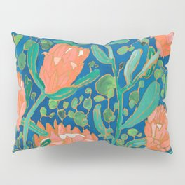 Coral Proteas on Blue Pattern Painting Pillow Sham