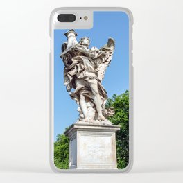 Angel with the Column at the Sant'Angelo bridge - Rome, Italy Clear iPhone Case