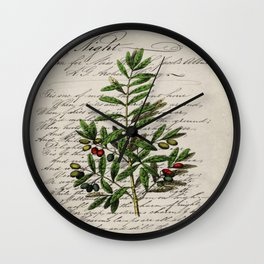 Chic paris scripts kitchen artwork french botanical leaf olive Wall Clock