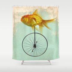 unicycle goldfish Shower Curtain