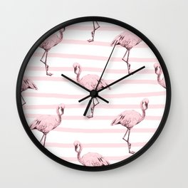 Flamingos on Drawn Stripes in Pink Flamingo Wall Clock