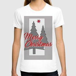 large Merry Christmas Tree grey T-shirt