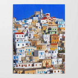 Colorful Greek Village Photography  Poster