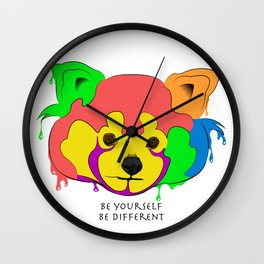 Be yourself, be different - Red Panda Wall Clock