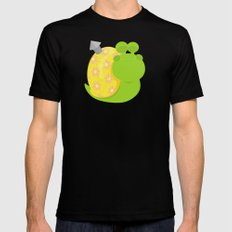 Green Snail (male) Mens Fitted Tee MEDIUM Black