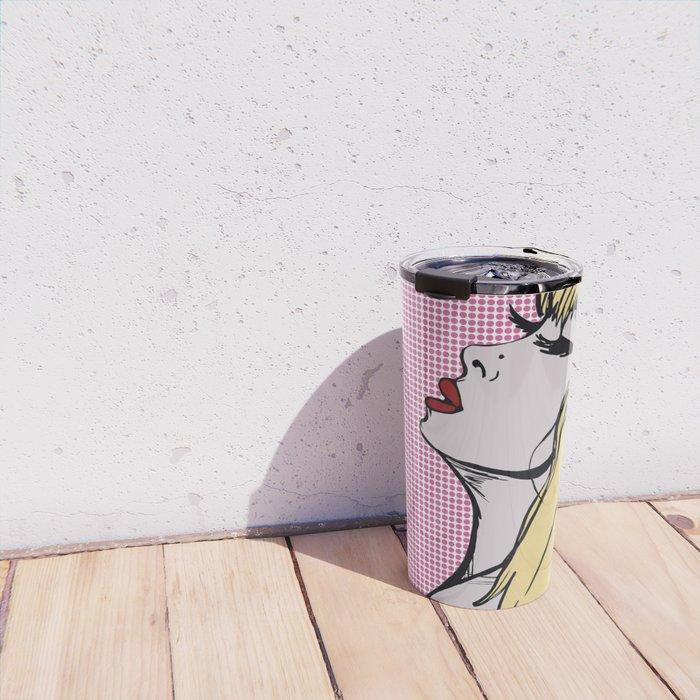 Pop Art Blonde Woman Travel Mug