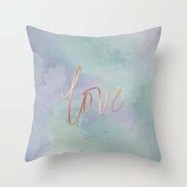 Your Love Is Gold - Blue & Green Watercolour Throw Pillow