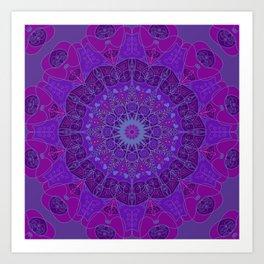 Mandala art drawing design purple fuchsia periwinkle Art Print