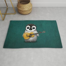 Musical Baby Penguin Playing Acoustic Guitar on Teal Blue Rug